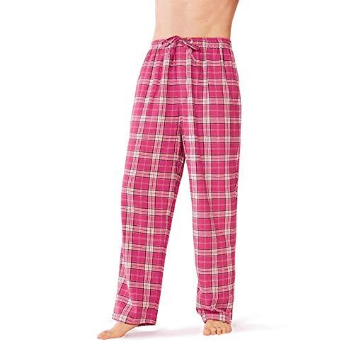 SIORO Flannel Pajama Pants for Men Soft Cotton Plaid Sleepwear Loungewear Bottoms, Fuchsia and White Plaid, XL