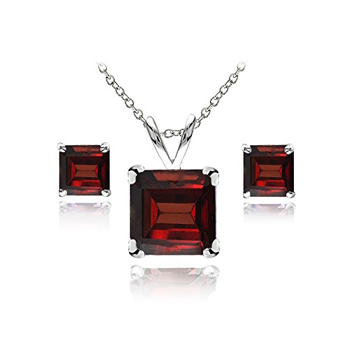 GemStar USA Sterling Silver Garnet Square Solitaire Necklace and Stud Earrings - Garnet Square Necklace