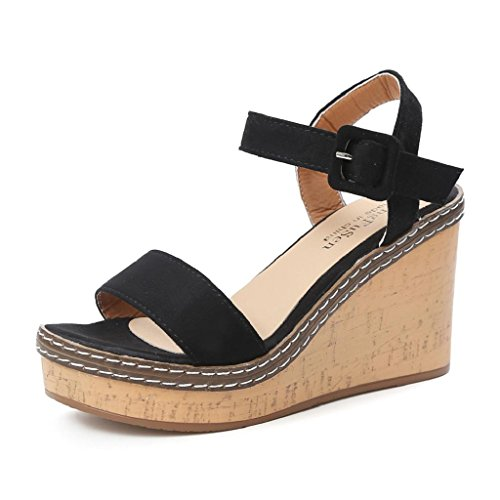 HGWXX7 Slope Sandals,Women Sommer High Heels Fish Mouth Wedge Buckle Strap Shoes(US-6.5/CN-40,Black)