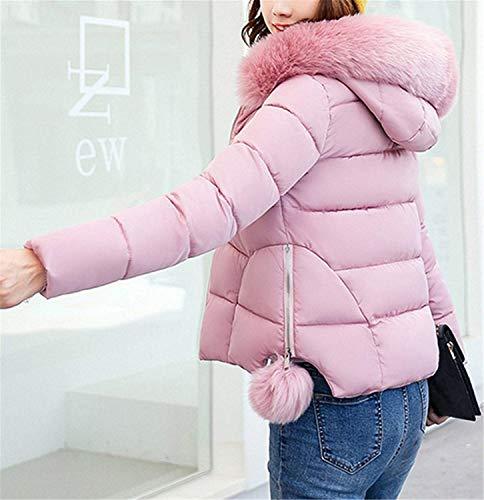 Imitación Piel Invierno Fit Slim De De Acolchado Manga Espesar Chaqueta Abrigo Mujer Chaqueta Capucha con Unicolor Larga Pink Outerwear Ropa Acolchada Caliente q6OpPp