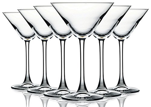 Martini/Cocktail Glasses with Beautiful Colored Stem - 10 oz. set of 6- Additional Vibrant Colors Available by TableTop King 1 Set includes 6 Martini Glasses with a 10 oz Capacity. Crafted from lead-free glass for clarity, consistency and affordabilty. Elegant and Sophisticated look Classic silhouette shape with a beautiful colored crystal accent.