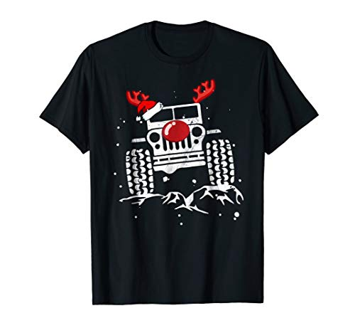 Funny Jeep Reindeer Christmas Holiday T Shirt Gift Costume ()