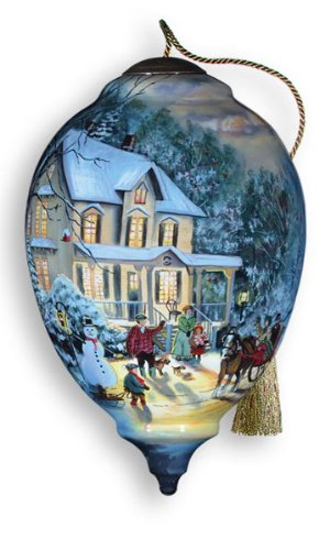 Ne'Qwa Art Home For The Holidays - New for 2012 - Glass Ornament Hand-Painted Reverse Painting Distinctive 715-NEQ (Christmas People Ornament)