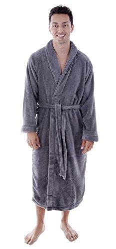 Men & Women's Soft Fleece Robe Plush Warm Robes for winter, Grey
