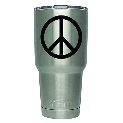 Peace Sign Vinyl Stickers - DD344 2-Pack Peace Sign Decal Sticker (DECAL ONLY CUP NOT INCLUDED) | 3 Inches | Premium Quality Black Vinyl | Yeti RTIC Orca Ozark Trail Tumbler Decal
