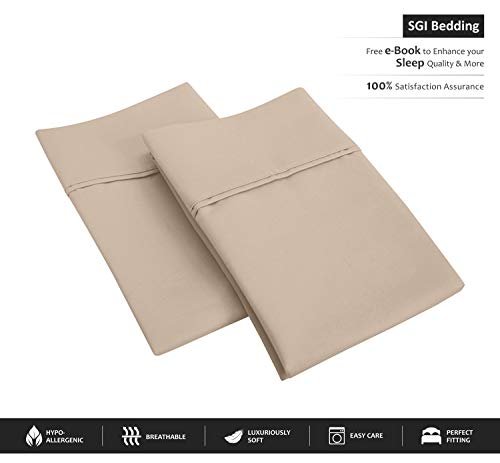 SGI bedding 600 Thread Count 100% Egyptian Cotton Standard/Queen Pillowcase Size 20X30 Taupe Solid (Pack of 2)