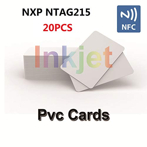 Inkjet Chip - 20 X Inkjet PVC NFC Cards with NFC Chip NTAG215 Printable Compatible with Epson & Canon Inkjet Printers, CR80 Blank Card, Waterproof & Double Sided Printing, Compatible with Amiibo and TagMo-TimesKey