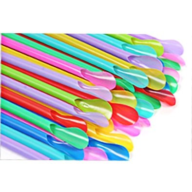 Affluence 100 per Package, Spoon Straws 9.5 Inch Mixed Color: Orange, Yellow, Green, Purple, And Pink Straws