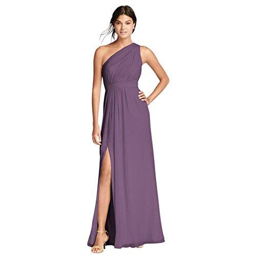 David's Bridal Long One-Shoulder Crinkle Chiffon Bridesmaid Dress Style F18055, Wisteria, 22 -