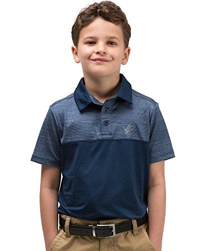 Three Sixty Six Youth Boys Golf Dri Fit Polo Shirt, Breathable Performance Fit Midnight ()