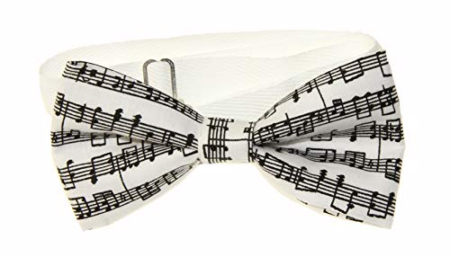 Men's White/Black Sheet Music Pre-Tied Adjustable Cotton Bow Tie - Music Tie Sheet
