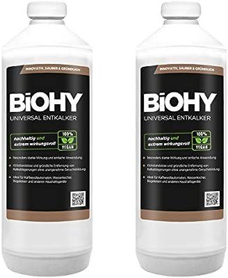 BiOHY Descalcificador universal (2 botellas de 1 litro) | Concentrado para 20 procesos de descalcificación| Compatible con cafeteras, como DELONGHI, PHILIPS (Universal Entkalker): Amazon.es: Salud y cuidado personal
