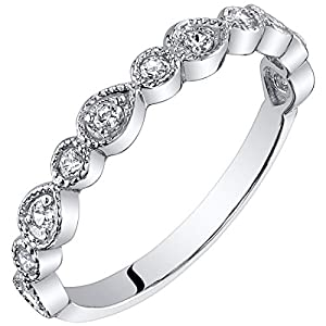 Peora Sterling Silver Stackable Ring Cubic Zirconia, 1.9mm Vintage Half Eternity Band for Women, Sizes 5 to 9