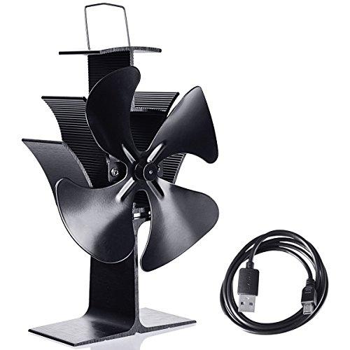 GJH One Fireplace Stove Fan Fuel Saving Heat Powered Wood Burner Eco USB 4 - Wood Insert Blower Fans