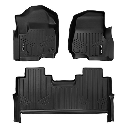 - SMARTLINER Floor Mats 2 Row Liner Set Black for 2017-2019 Ford F-250/F-350 Super Duty Crew Cab with 1st Row Bucket Seats