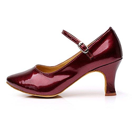 De Latine Moyens Chaussures Danse De Rouge De Talons Womens Sociale Cuir De Moderne Chaussures Vin Chaussures Chaussures Danse WYMNAME Danse Danse wIYvf4q