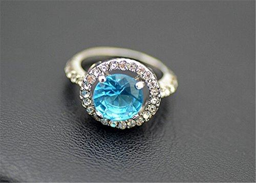 BHB(TM)Elegant Silver Diamond Ring with Blue Gem
