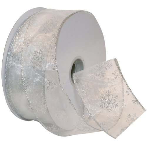 Morex Ribbon Snowflake Wired Sheer Glitter Ribbon, 2-1/2-Inch by 50-Yard Spool, White/Silver (Christmas Ribbon For Tree)
