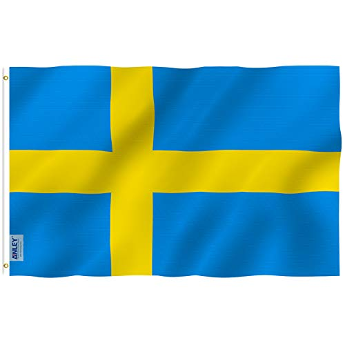 Anley [Fly Breeze 3x5 Foot Sweden Flag - Vivid Color and UV Fade Resistant - Canvas Header and Double Stitched - Swedish National Flags Polyester with Brass Grommets 3 X 5 Ft