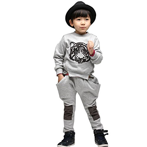 Little Hand Little Boys' Tiger Matching Printing Tops And Haroun Pants Suit
