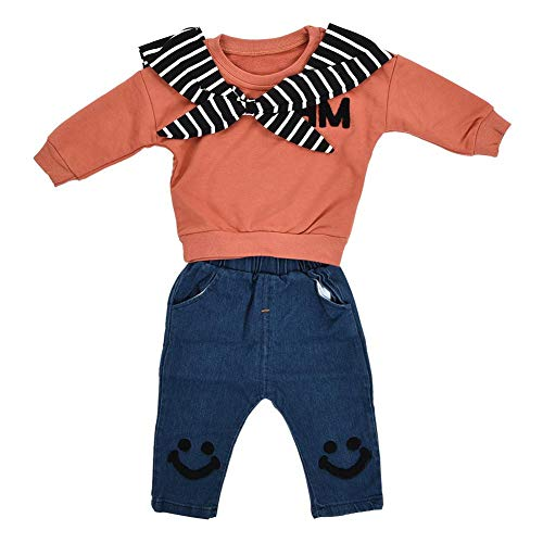 2Pcs Kids Baby Boys Girls Sweatshirt Long Sleeve T-Shirt Tops Striped Tie Pullover Jean Fashion Smile Pattern Denim Pants Long Trousers Clothing Set Outfit for Gift Casual Daily Party(90cm-Caramel)