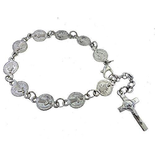 2 x Pcs Metal Silver Plate Catholic St. Benedict Exorcism Medal Rosary Bracelet adustble 7-8.5inch