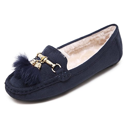 752eb089d9d 80%OFF SUNROLAN Women s Winter Flats Penny Loafer Shoes Faux Fur-Lined Slip  On