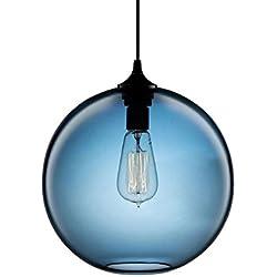 iecool Modern Designer Pendant Light Hanging Ellipse Glass Shades 6 Colors Blue