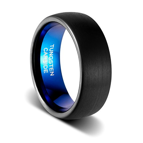 TUSEN JEWELRY 8mm Wedding Band Dark Blue Polished and Black Dome Brushed Finish Comfort Fit Tungsten Ring Size:12