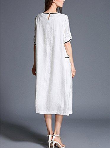 Bobbycool Dress Loose Embroidered White Neck Sleeve Long Flowers Women HqxHCrwT