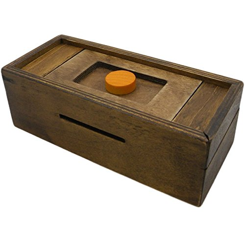 Puzzle Box Enigma Secret Discovery - Money and Gift Card holder in a Wooden Magic Trick lock with hidden Compartment Piggy Bank Brain Teaser (Puzzle Gifts)