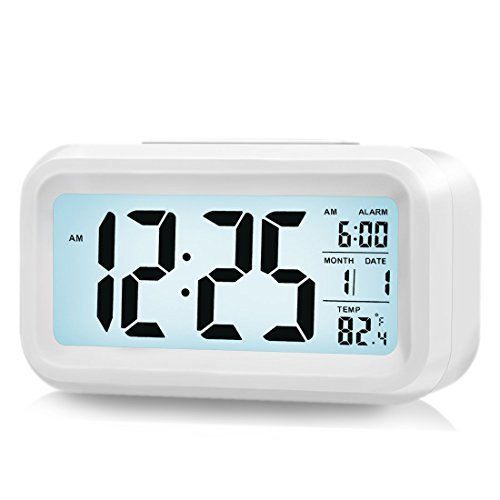 ZHPUAT Morning Clock,low Light Sensor Technology,light on Backligt When Detect Low Light,soft Light That Won't Disturb the Sleep,progressively Louder Wakey Alarm Wake You up Softly.color White