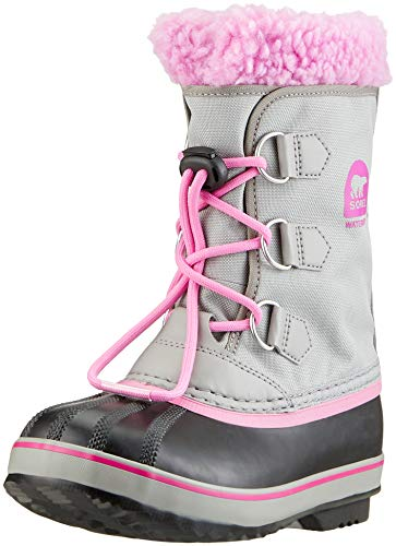 SOREL Girls' Yoot Pac Nylon Snow Boot, Chrome Grey, Orchid, 4 M US Big Kid ()