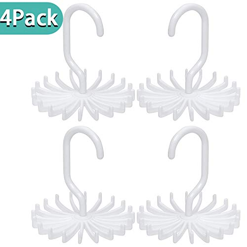 DIFEN 4 Pack Adjustable Rotating Twirl Tie Rack Scarf Hanger Holder, Hook for Closet Organizers, 20 Hooks - White