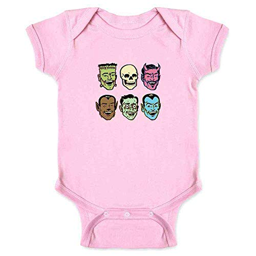 Pop Threads Retro Monster Party Halloween Costume Zombie Pink 12M Infant Bodysuit ()