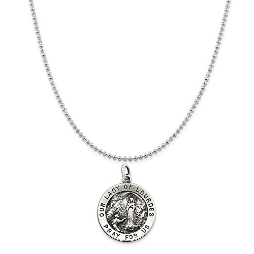 Sterling Silver Antiqued Our Lady Of Lourdes Medal on a Sterling Silver Ball Chain Necklace ()