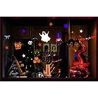 Honch Halloween Window Clings Window Stickers Halloween Window Decorations Pumpkin Bat Ghost Static Stickers for Glass Windows (B)