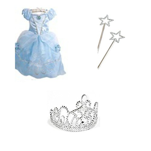 Kids Party Supplies Bundle - Little Girls Princess Costume, Tiara and Toy Wand