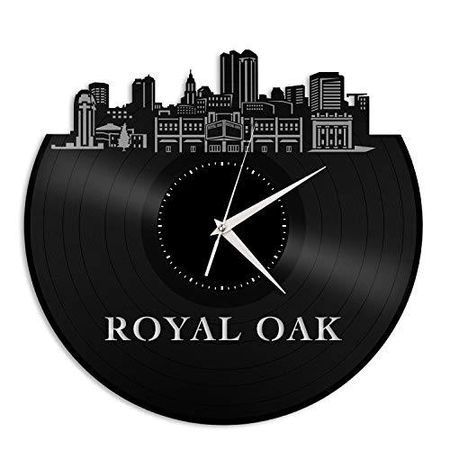 VinylShopUS - Royal Oak MI Vinyl Wall Clock City Skyline Souvenir Best Gift for Friends Office and Bedroom | Home Anniversary Decoration -