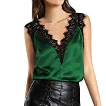 Fashion Nova Women Lace Vest Tops, Sexy Sleeveless Tank Tops V Neck T-Shirt Blouse for Girls Daily Party Office (XL, Green)