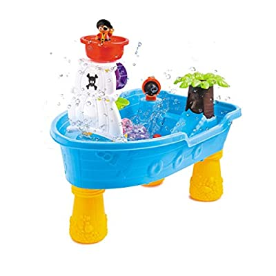 Sand and Water Table Toys | Kids 2-in-1 Beach Set Toys with Storage Room, Cover, Sandbox Toy,20 Pcs Accessory Activity Table Set (from US, Multicolour): Kitchen & Dining