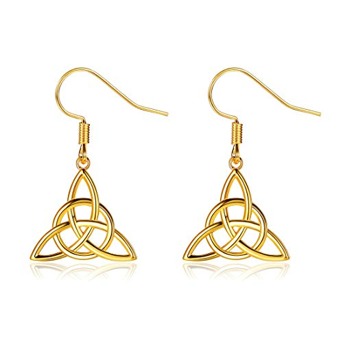 (ChicSilver Celtic Jewelry 18K Gold Plated Sterling Silver Good Luck Irish Celtic Knot Triangle Vintage Dangle Earrings)