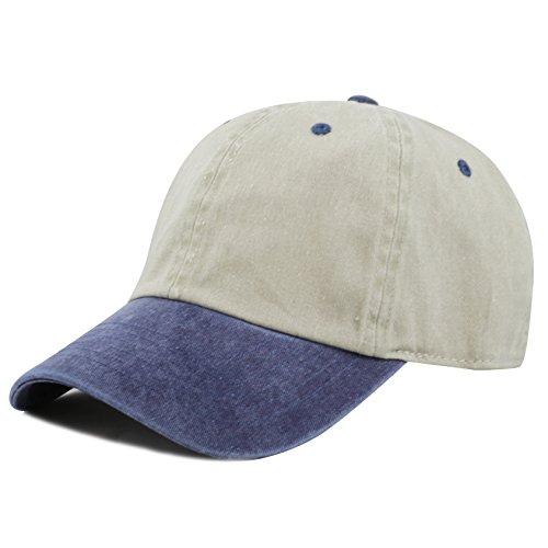 The Hat Depot Cotton Pigment Dyed Low Profile Six Panel Cap (Beige Navy) Cloth Low Profile Cap