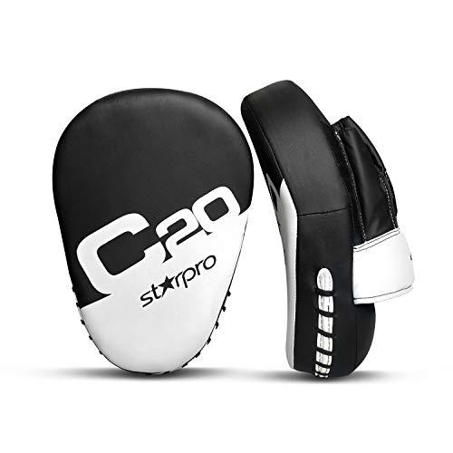 Starpro Boxing MMA Punching Mitts Pads Essential Curved Hook & Jab Pads MMA Target Focus Punching Mitts Muay Thai Strike Kick Shield (Black)
