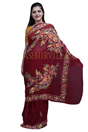 Kashmirvilla Maroon Colour Saree With Aari Work Border And Bold Paisleys Make The Saree Unique And Graceful.