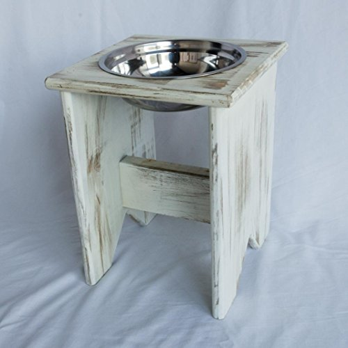 Elevated Dog Bowl Stand - Wooden - 1 Bowl - 400 mm / 16'' Tall - Raised Dog Bowl by Fabian Woodworks