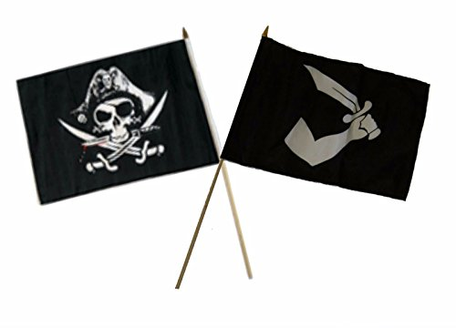 ALBATROS 12 inch x 18 inch Pirate Deadmanins with Thomas Tew Stick Flag for Home and Parades, Official Party, All Weather Indoors Outdoors -