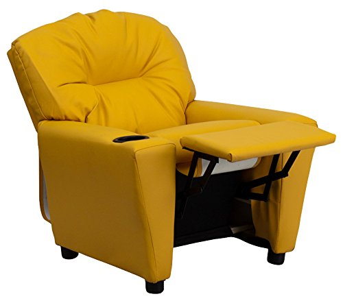 ComfortScape Contemporary Yellow Vinyl Kids Recliner with Cup Holder