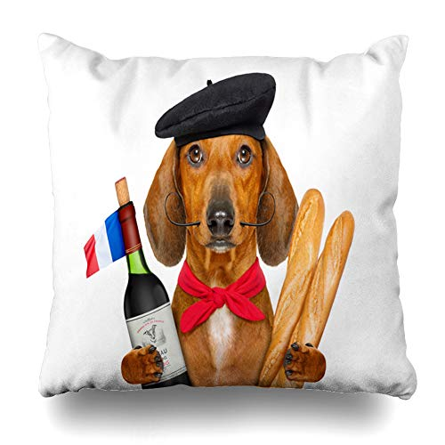 "Soopat Decorative Throw Pillow Cover Square Cushion 18""X18"" Dachshund Sausage Dog Hat White Red Wine French Flag Pillowcase Home Decor Kitchen Garden Sofa from Soopat"