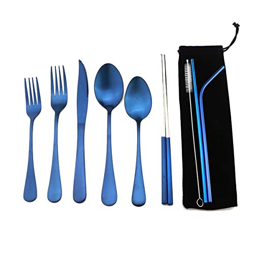 Blue Reusable Utensils with Case Camping Travel Silverware Set,Portable Stainless Steel Cutlery Set - Matte Flatware Set Knife Fork Spoon Mirror Straws Chopsticks - for Office Lunch, Hiking, School ()